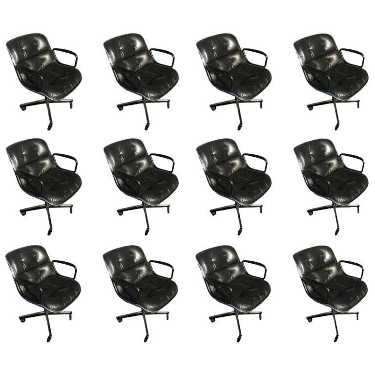 1 Charles Pollock for Knoll Black Leather Armchair