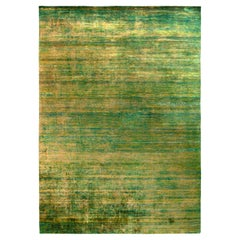 Rug & Kilim's Modern Textural Rug in Green, Yellow Solid-Stripe Pattern