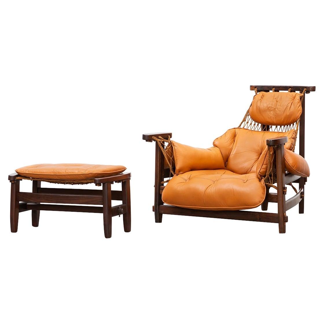 1960s Jacaranda, Leather Cushion Lounge Chair and Ottoman by Jean Gillon