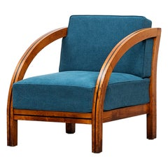 1920s Brown Wood Lounge Chair by Paul Frankl 'New Upholstery'