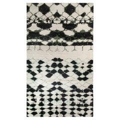 Rug & Kilim's Moroccan Style Custom Rug in Black, White, Green Geometric Pattern