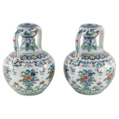 Pair of Chinese Doucai Double Ear Porcelain Vases