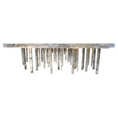 One of a Kind Solid Zinc and Petrified Wood Waterfall Sculptural Dining Table