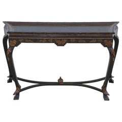 Chinese Faux Bamboo Edged Black and Gold Console Table
