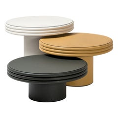 Set of 3 Round Leather Coffee Tables Scala by Stephane Parmentier for Giobagnara