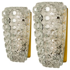 1 of the 2 Pairs Glass Wall Lights Sconces by Helena Tynell for Glashütte, 1960