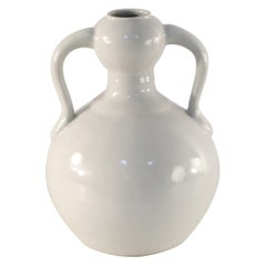 Chinese Off-White Gourd-Shaped Double Ear Porcelain Vase