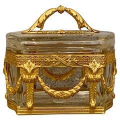 Napoleon III Ormolu Mounted Glass Casket / Box French Antique