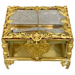 Large Napoleon III Ormolu Mounted Glass Casket / Box French