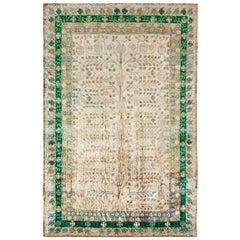Rug & Kilim's Khotan Style Modern Rug in Green, Beige-Brown Pomegranate Pattern