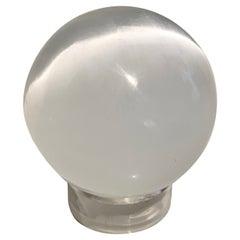 Mounted Iridescent Opaline Sphere Paper Weight