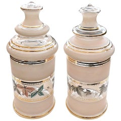 Vintage Pair of Pale-Pink Frosted Glass Apothecary Jars with Foliate Decoration