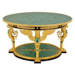 Empire Style Malachite & Ormolu Table