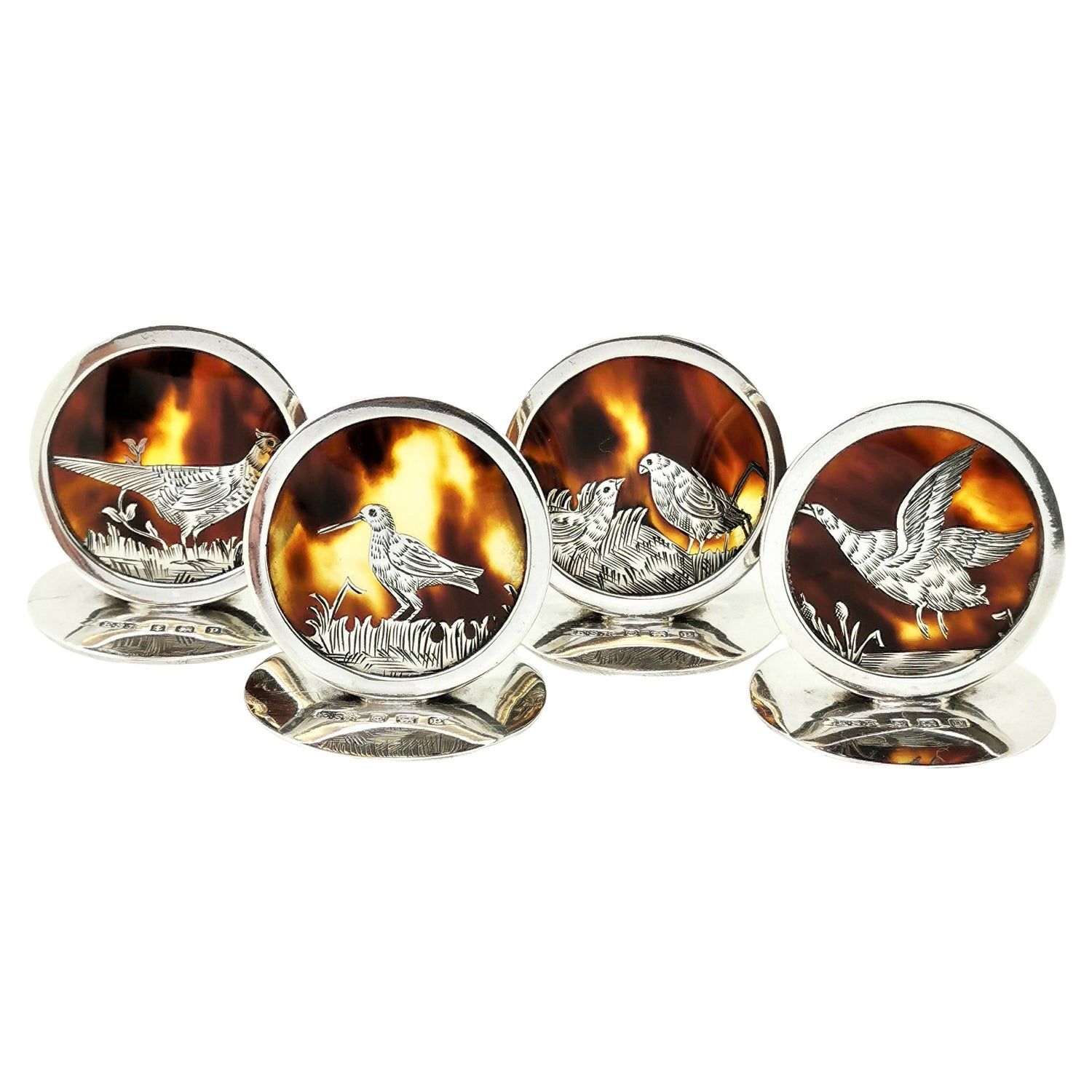Set Four Antique Silver & Tortoise Shell Place Card Menu Holders Game Bird, 1914