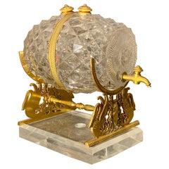 Charles X Gilt Bronze-Mounted Glass Barrel on a Stand, circa 1830