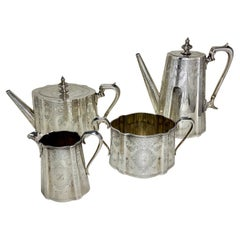 Highly Engraved Victorian Sterling Silver Tea Coffee Service, 1873