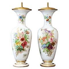 Pair 19th Century French Baccarat White Opaline Crystal Vases Mounted as Lamps