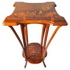 French Art Nouveau Carved Fruitwood & Marquetry Pedestal by, Emile Gallé