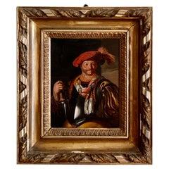 Dutch School Old Master Painting A Half Length Portrait of a Cavalier