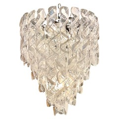 Modern Spiraled Clear and White Murano Glass Chandeliers