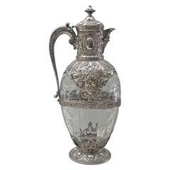 Victorian Silver-Mounted Antique Rock Crystal Glass Claret Circa 1892