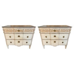 Pair of 19th Century Swedish Carved and Painted Chests with Greek Key Pattern
