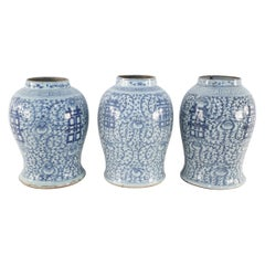 Chinese Off-White and Blue Vine Character Porcelain Urn Vases