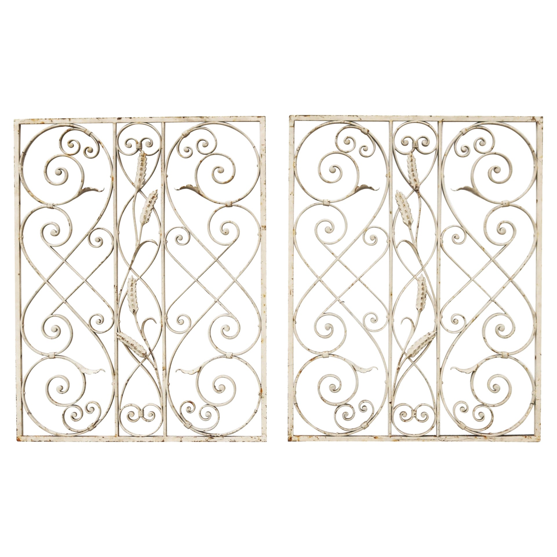 Pair of Reclaimed Wrought Iron Grills