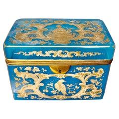 Superb Large Bohemian Barfatan Opaline Enamelled Glass Casket / Box