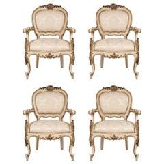 Set of Four Italian 19th Century Louis XV St. Armchairs