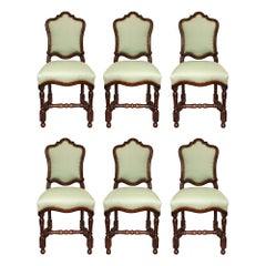 Set of Six Italian 18th Century Louis XIV Period Walnut Dining Chairs
