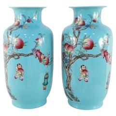 Pair of Chinese Teal Nine-Peach Porcelain Vases