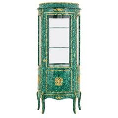 French Empire Style Gilt Malachite One Door Vitrine or Cabinet