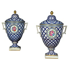 Pair of Hand-Painted Porcelain Vases in the Neoclassical Style