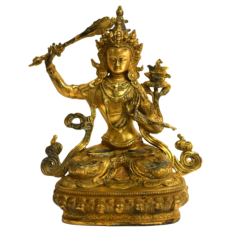 Gilt Bronze Tibetan Buddha Manjushree