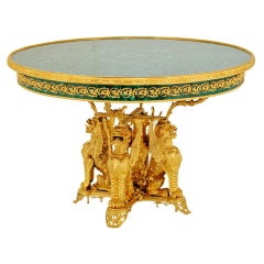 Empire Style French Malachite & Ormolu Three Claws Winged Dragons Table