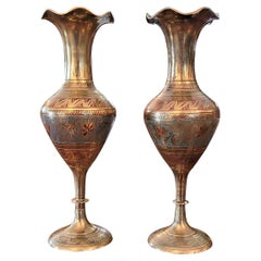 Pair of Anglo Indian Brass and Enameled Rose Vases