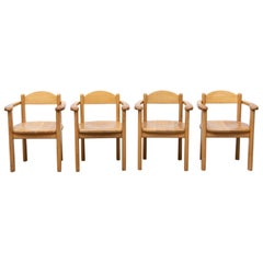 Set of 4 Rainer Daumiller Style Oak Dining Chairs