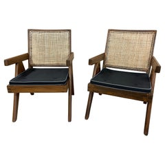 Mid-Century Modern Pierre Jeanneret Hand Cane Low Easy Armchairs, Pair