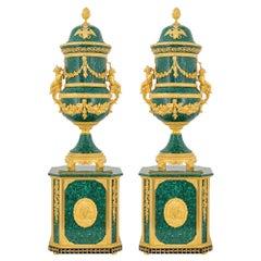 French Empire Style Malachite & Ormolu Pedestal Vase