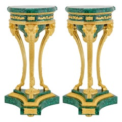French Empire Style Malachite & Ormolu Stands Depicting 3 Rams Heads