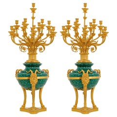 Pair of Large French Neoclassical Style Malachite & Ormolu Candelabras