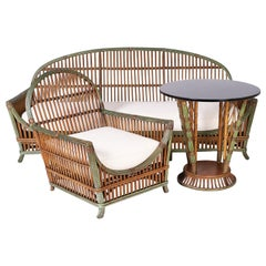 Three Piece Art Deco Rattan Sofa, Chair, and Table. Priced for All, or Each.