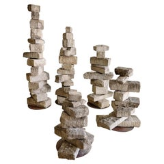 Monumental Rob Neilson Vintage Stacked Stone Indoor Outdoor Sculpture