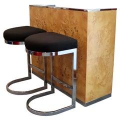 Mid-Century Modern Milo Baughman Burlwood & Chrome Standing Bar & Barstools 70s