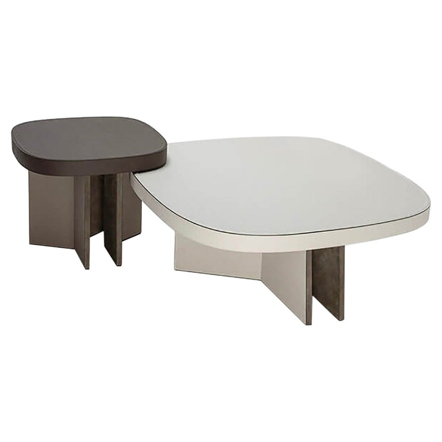 Set of 2 Leather Coffee Tables, Bivio by Stephane Parmentier for Giobagnara
