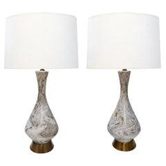 Large Pair of Vintage Faux Marble Ceramic Lamps by Tye of California, Los Angele