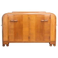 Art Deco Oak Cocktail Cabinet Sideboard Bar by E Gomme