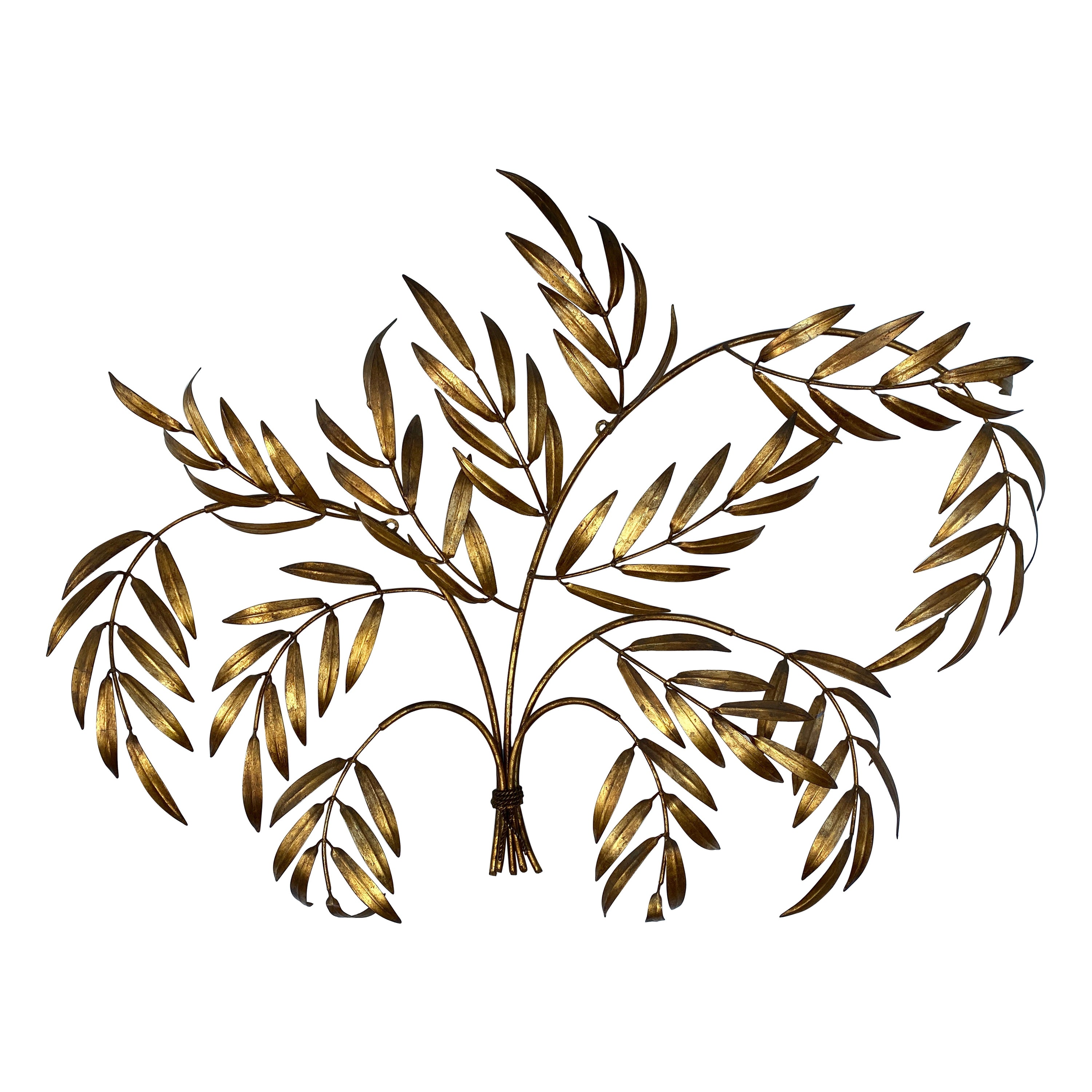 Vintage 1950s Italian Gilded Branches & Leaves Wall Sculpture