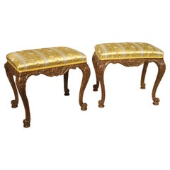 Pair of Well Carved French Louis XV Style Tabouret Stools with Silk Upholstery